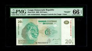 2003 20 Francs Congo Democratic Republic PMG EPQ 66