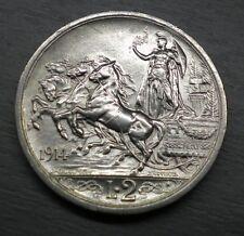 Italy 2 Lire 1914 Quadriga KM#55 Silver Coin ** UNC