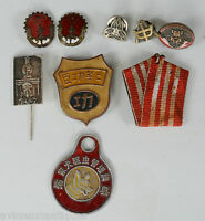 9 Various vintage Chinese and Korean ? Pins & Medals Running unknown