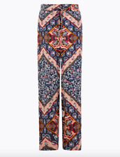 Boho Palazzo Scarf Print Wide Leg Trousers Vintage Style Size 10 ex M&S