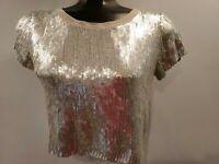 Chan Luu Women's Size Small Silver Sequin Short Sleeve Crop Blouse Top T Shirt
