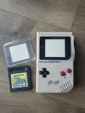 Nintendo Game Boy Gray Handheld System w red backlight, bivert mod, glass cover