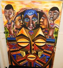 JOHN B.MAINGA AFRICAN PEOPLE ORIGINAL OIL ON CANVAS PAINTING