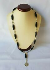 Montblanc Pearl & Onyx Bead Sterling Silver Necklace - Homage to Femininity