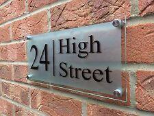 MODERN HOUSE SIGN PLAQUE DOOR NUMBER STREET GLASS EFFECT BORDER WALL PLAQUE