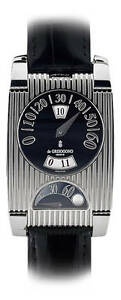 De GRISOGONO FG One Jump Hour GMT Retrograde Steel Alligator Watch and Pen