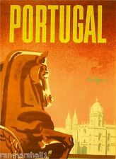 Portugal by Clipper Airplane Vintage Lisbon Travel Advertisement Poster Print