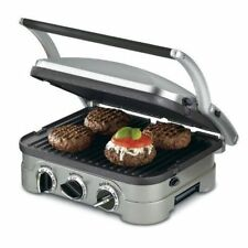 Cuisinart GR-4N 5-in-1 Griddler, Silver, Black Dials Tools Quality Electric new