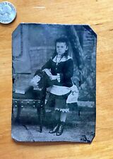 Weird 1/4 Plate Tintype Young Girl GOLD Necklace small SKULL bottom right!