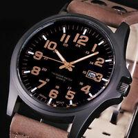 Hombres Fecha árabe numerales Dial de cuero Deporte Cuarzo Militar Reloj pulsera