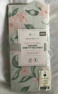 Pottery Barn Kids Peach Floral Organic Fitted Crib Sheet NWT NLA