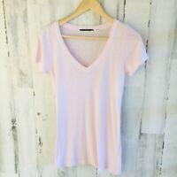 NWOT $62 Michael Stars Slub V-Neck Tee Supima Pink Short Sleeve One Size OS