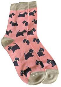 Pink Scottie Dog Socks Ladies Black Scottish Terrier Cute Dogs Bamboo Cotton New