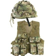Kids Army Assault Outfit Soldier Fancy Dress Costume Boys BTP Vest Helmet