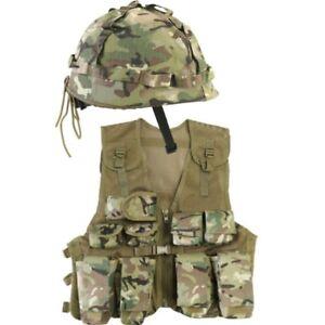BOYS ARMY SOLDIER COSTUME KIDS ASSAULT VEST & HELMET OUTFIT FANCY DRESS BTP CAMO