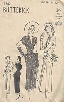 1940s WW2 Vintage Sewing Pattern B34 DRESS with DRAPE & BOW (1705)