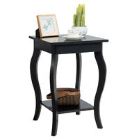 Accent Side Table Sofa End Table Nightstand Coffee Table w/ Storage Shelf Black