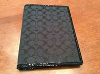 NWT Coach black/Grey Signature C Passport Case/Wallet #60354