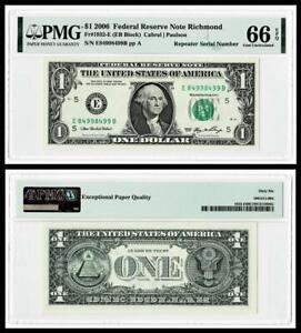 REPEATER SERIAL # 8499 8499  2006 $1  FR Note ~ PMG GEM UNC 66 EPQ