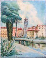 ::Uferpromenade mit dem Torre Apponale, Blick auf Riva del Garda Ölgemälde antik