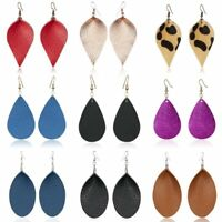 Handmade Leather Elegant Women Earrings Leaf Teardrop Dangle Stud Hook Jewelry