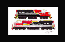 "Norfolk Southern 911/5642 First Reponders 11""x17"" Matted Print Fletcher signed"