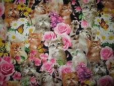 CATS REALISTIC BUTTERFLY ROSE FLOWERS CAT COTTON FABRIC 8 3/4 Inch Scrap
