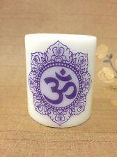 Purple Om Mandala Meditation Yoga Decoration Protection Tranquillity Zen Candle