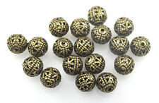 25 Antique Gold Plated Filigree Round Metal Beads 8MM