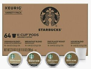 Starbucks K-Cups Coffee Pods | Variety Pack for Keurig Brewers 64 Pods EXP 12/20