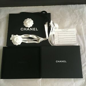 CHANEL LARGE GIFT NECKLACE JEWELLERY BOX + RIBBON CAMELLIA CARRIER BAG CAMELLIA