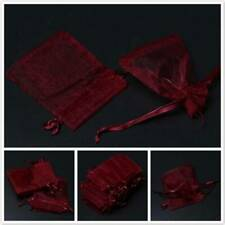 100PC Wine Red Organza Gauze Bag Wedding Gifts Candy Bags Jewelry Pouches Bag B