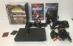 Sony PlayStation 2 Ps2 Slim Console, 16 Games Tested and Working BUNDLE LOT