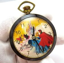 "SLEEPING BEAUTY,70's,RARE! ""Castle"" Wind-up,Character POCKET WATCH,M-38,L@@K"