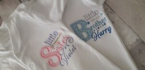 Personalised Baby Sleepsuit Little Sister Or Brother Name Announce
