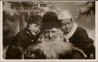 Christmas - Santa Claus & Children c1910 CRISP Real Photo Postcard