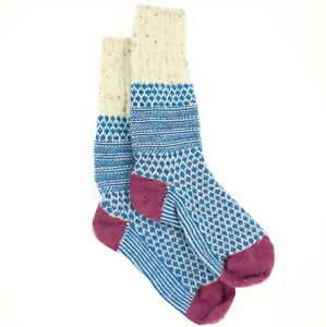 Smartwool 272352 Women's Popcorn Cable Multi Donegal Crew Cut Socks Size Large