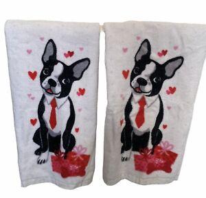2 Cynthia Rowley French Bulldog Decorative Towels EUC Valentine Hearts