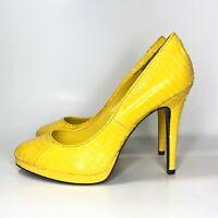NWOB Lauren Ralph Lauren Kailee Leather Snake Skin Pump Heels Sz Yellow 7 B