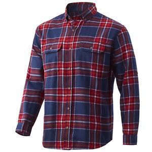 Huk Maverick Fishing Flannel- Blood Red