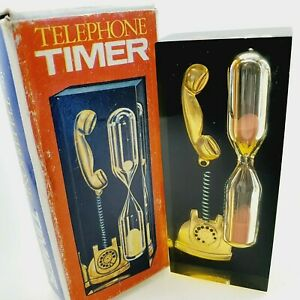 Telephone timer sand glass clock hourglass in orig box 1970's vintage