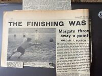 H5-1 ephemera 1961 picture article  margate 1 burton match report football 10/1/