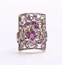 ORNATE SHINY SILVER METAL RECTANGLE WITH PLUSH PURPLE GEMSTONE FLOWER RING(ZX44)