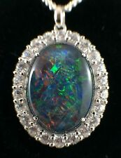 Australian Large Triplet Opal 925 Sterling Silver Necklace Pendant w CZs 16x12mm