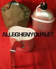 3 Piece GI WW2 Type Aluminum 1 QUART 1QT CANTEEN w FOLDING HANDLE CUP & COVER