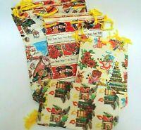 15 Vintage Paper Christmas Gift Bags Yellow Santa Angels Snowmen Candles 1950's