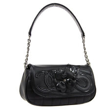 CHANEL Camellia No.5 CC Chain Hand Bag 10948650 Purse Black Leather S10136
