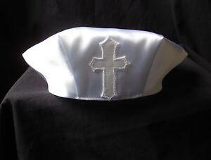 Baby Boys White Cross Satin Christening/Baptism Cap Hat Size 0-18 M