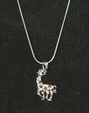 Giraffe Necklace silver tone Clear Amber Rhinestones Lobster clasp Sparkle 16 in