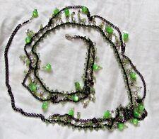 Exquisito Collar de Cinturón de Danza del Vientre Punk Goth Vapor Black Metal & Green Beads